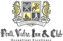 The logo for the Ponte Vedra Inn & Club with shield, scroll and seahorses.