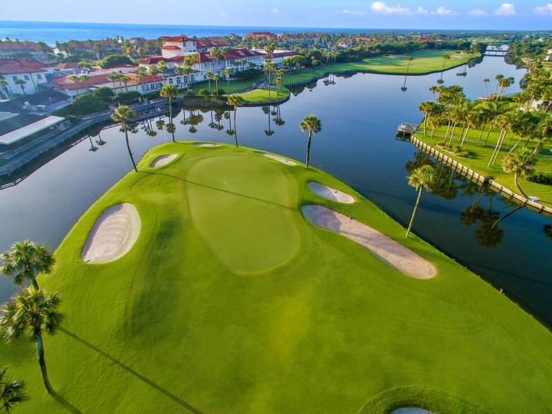 Aerial shot of ocean golf course