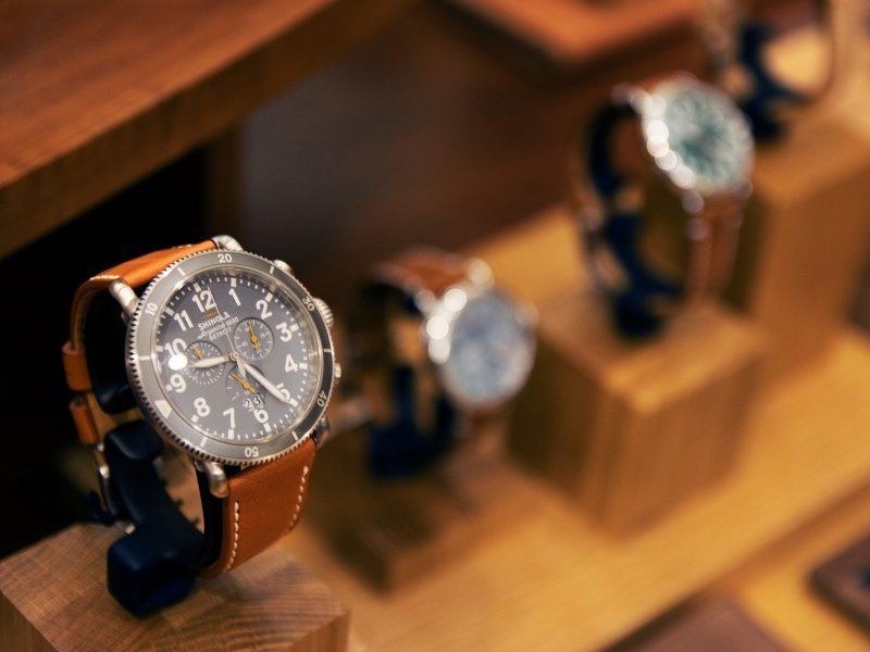 Luxury watches on display