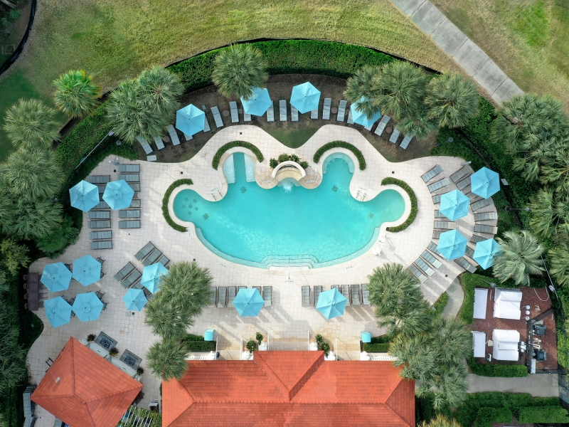 overhead shot of spa pool