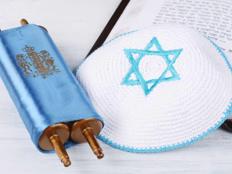 stock bar mitzvah image of torah and Kippah