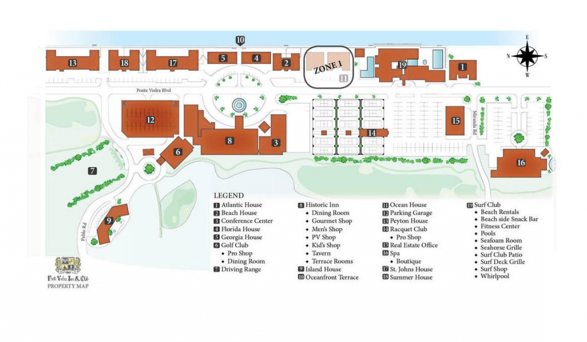 Map of Ponte Vedra Resort - Ocean House Construction Zone