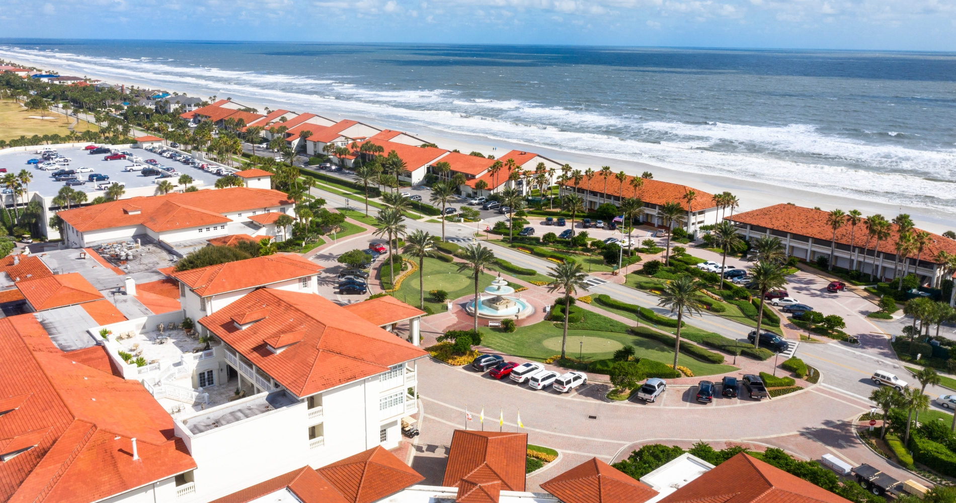 aerial shot of the inn and the beach